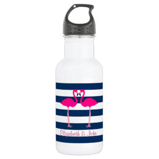 Cute Pink Flamingos In Love,Striped-Personalized 532 Ml Water Bottle