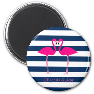 Cute Pink Flamingos In Love,Striped-Personalized Magnet