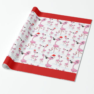 Cute Pink Flamingos Santa Hat Wrapping Paper