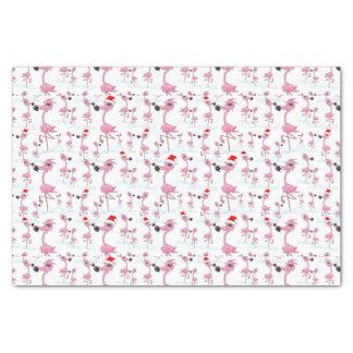 Cute Pink Flamingos Santa Hats  Pattern Tissue Paper