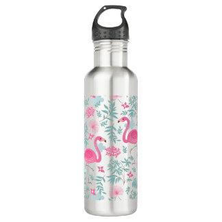 Cute Pink Flamingos & Tropical Flowers 710 Ml Water Bottle