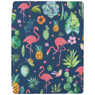 Cute Pink Flamingos & Tropical Flowers Pattern iPad Cover