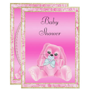 Cute Pink Floppy Ears Bunny Baby Shower Card