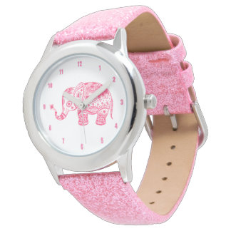 Cute Pink Floral Paisley Elephant Illustration Wrist Watches