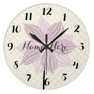 Cute Pink Flower Add Name Wall  Clock