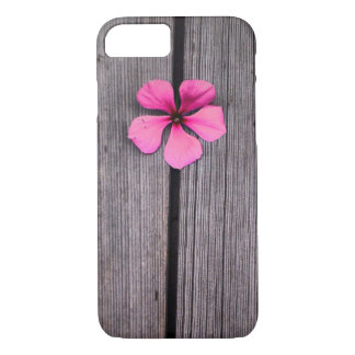 Cute Pink Flower and Wood Grain Case