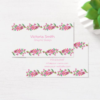 Cute Pink Flower Floral Cherryblossoms Branch Business Card