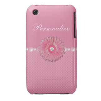 Cute Pink Flower with Diamonds, pearls & Hearts Case-Mate iPhone 3 Cases