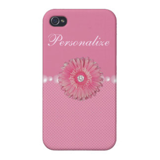 Cute Pink Flower with Diamonds, pearls & Hearts Cases For iPhone 4