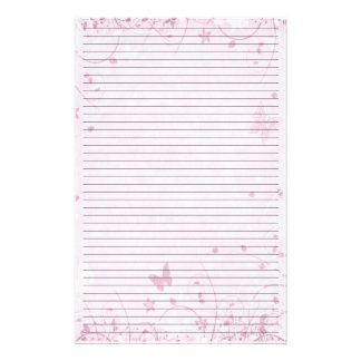 Cute Pink Flowers and Butterflies Lined Stationery