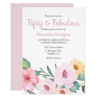 Cute Pink Flowers Fifty & Fabulous 50th Birthday Card