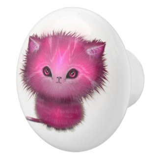 Cute Pink Fluffy Kitty Cat Ceramic Knob