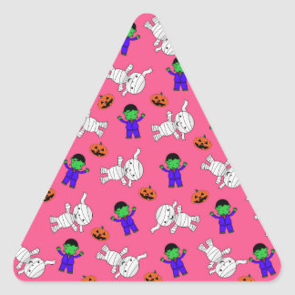 Cute pink Frankenstein mummy pumpkins Triangle Sticker