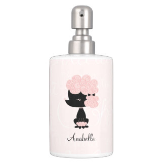 Cute Pink French Poodle Bathroom Set