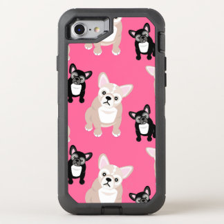 Cute Pink Frenchies French Bulldogs OtterBox Defender iPhone 8/7 Case