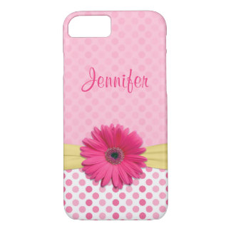 Cute Pink Gerbera Daisy Polka Dot iPhone 8/7 Case