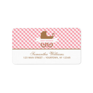 Cute Pink Gingham Pattern and Baby Carriage