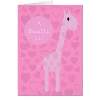 Cute Pink Giraffe & Hearts New Baby Girl Card