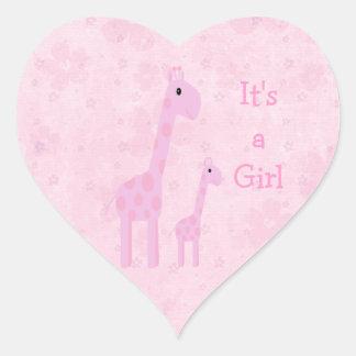 Cute Pink Giraffes & Flowers Its A Girl New Baby Heart Sticker