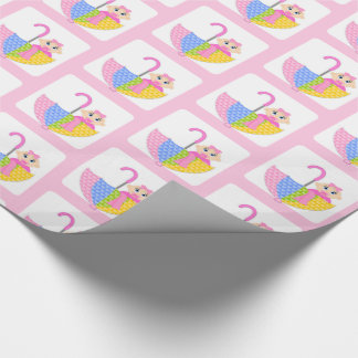 Cute Pink Girl Baby Shower Pattern Wrapping Paper