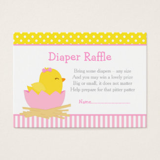 Cute Pink Girl Chick Diaper Raffle Business Card