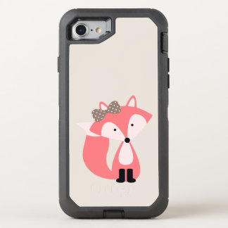 Cute Pink Girl Fox OtterBox Defender iPhone 8/7 Case