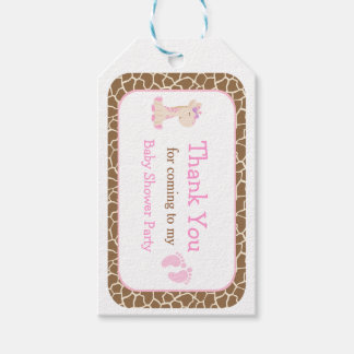 Cute Pink Girl Giraffe Thank You Gift Tag