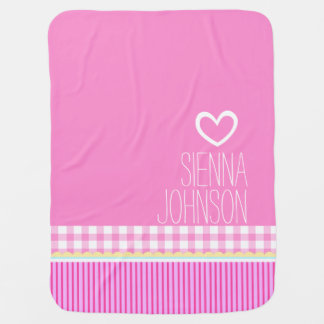 Cute pink girls named white heart baby blanket