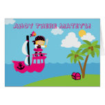 Cute pink girl's pirate birthday party invitation cards