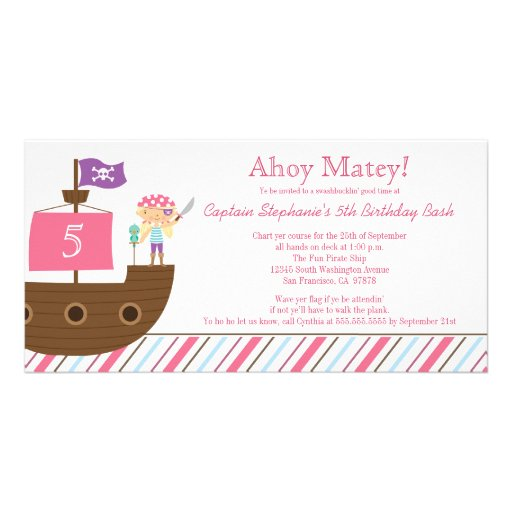 Cute pink girl's pirate birthday party invitation photo card template
