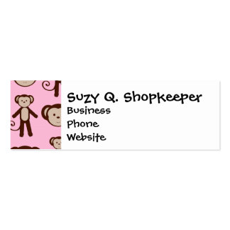 Cute Pink Girly Monkey Girl Collage Pattern Mini Business Card