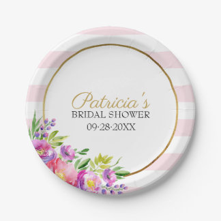 Cute Pink & Gold Floral Watercolor Bridal Shower Paper Plate