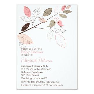 Cute Pink & Gray Lovebirds Baby Shower Invitation