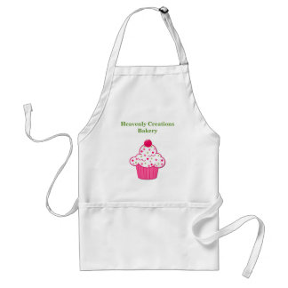 Cute Pink & Green Cupcake Bakery Business Apron