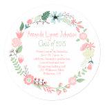 Cute Pink Green Flowers Wreath Graduation Invite