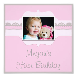 "Cute Pink & Grey Baby 1st Birthday Add Your Photo 5.25"" Square Invitation Card"