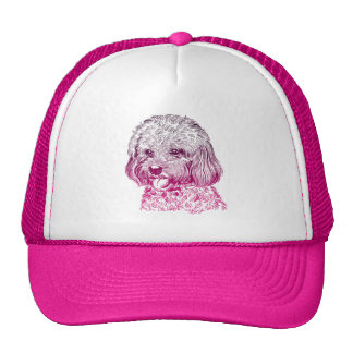 Cute Pink Hand Drawn Puppy Dog Trucker Hat