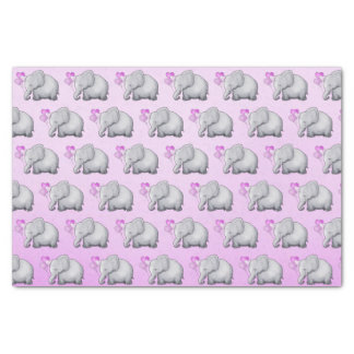 Cute Pink Heart Balloons Elephant Baby Girl Shower Tissue Paper