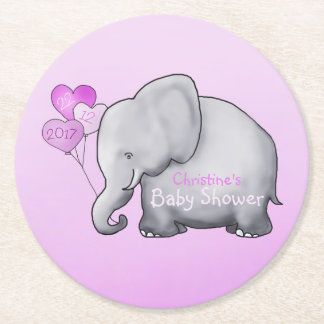 Cute Pink Heart Balloons Elephant Girl Baby Shower Round Paper Coaster