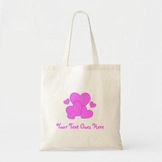 Cute Pink Heart Canvas Bag - Customized