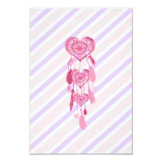 Cute Pink Heart Dreamcatcher Girly Pastel Stripes Card