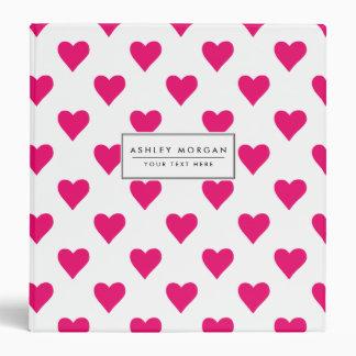 Cute Pink Heart Pattern Love Binders