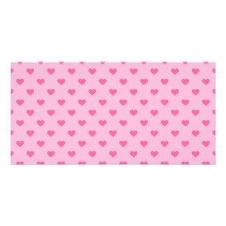 Cute Pink Heart Pattern Love Custom Photo Card