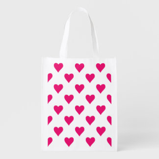 Cute Pink Heart Pattern Love Reusable Grocery Bag