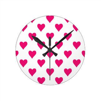 Cute Pink Heart Pattern Love Round Clock
