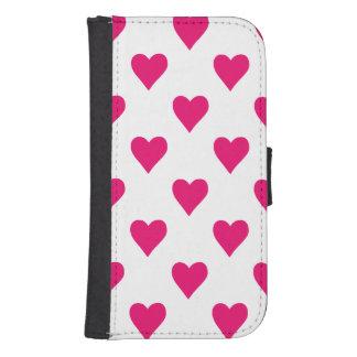 Cute Pink Heart Pattern Love Samsung S4 Wallet Case