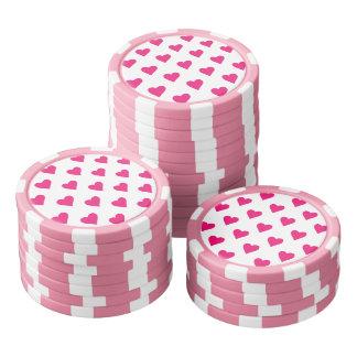 Cute Pink Heart Pattern Love Set Of Poker Chips