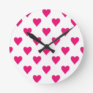 Cute Pink Heart Pattern Love Wall Clock