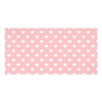 Cute Pink Heart Pattern Photo Card