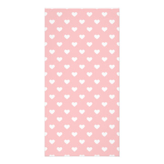 Cute Pink Heart Pattern Photo Cards